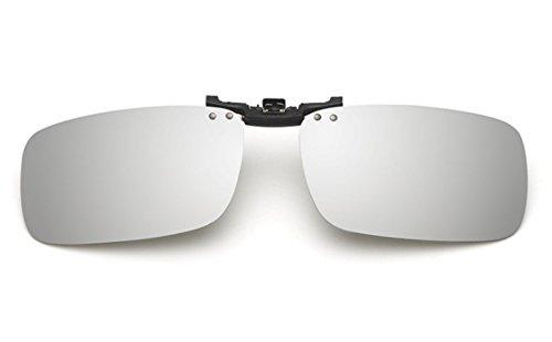 ELSA & ANNA® Unisex Flip-up Polarisierte Sonnenbrillen Klipp auf Sonnenbrille Gläsern Brille VF-GLS-F15 (Silber Quecksilber)