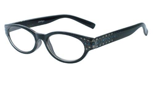 About Eyes G153 Pixie - Vergrößerung +1.00, Schwarz Bild mit blau und weiß diamante tempel bereit-zu-tragen Lesebrillen, 1er Pack (1 x 1 Stück)
