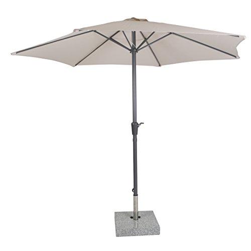 greemotion Sonnenschirm 120277, beiger Solarschirm, Sommerschirm mit Kurbel zum Aufspannen, der Strandschirm hat eine Auto-Knickfunktion, der Balkonschirm ist höhenverstellbar und besteht aus Stahl und Polyester, die Maße des Marktschirms betragen ca. Durchmesser 300 x H 250 cm