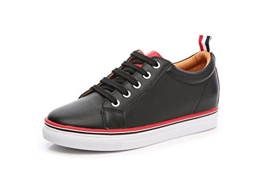 Damen Niedrige Schaft Slip On Schnürsenkel Flache Lässige Outdoor Laufschuhe Bequeme Sneakers Schwarz