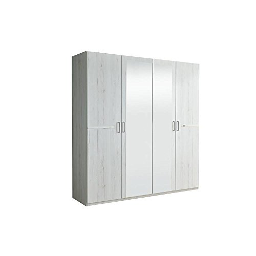 Inside armadio caramella 180cm ad ante battenti rovere bianco con 2specchi