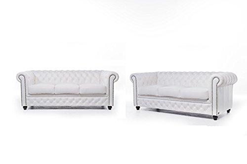 Original Chesterfield Sofas – 3 / 3 Sitzer – Vollständig Handgewaschenes Leder – weiß