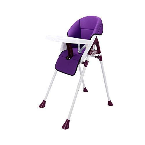 MEETGG Baby Hochstuhl Höhe Einstellbar Kleinkind Sitz Stuhl Kind Hoch Stuhl Falten Säugling Essen Stuhl Gemütlich Baby Polster,Purple1