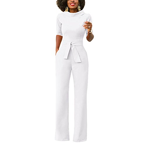 CZ Women Elegant Pure Wide Leg Work Jumpsuits Long Fitted Romper Pants With Belt