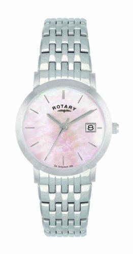 Rotary LB02622/07 - Reloj analógico de cuarzo para mujer, correa de acero inoxidable color plateado