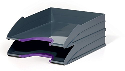 Durable 770212 Briefablagen Set (Varicolor, 2 Ablagefächer stapelbar) lila/anthrazit