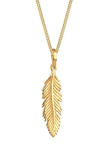 Elli Damen Schmuck Echtschmuck Halskette Kette Anhänger Feder Blogger Boho Sterling Silber 925 Vergoldet Länge 45 cm