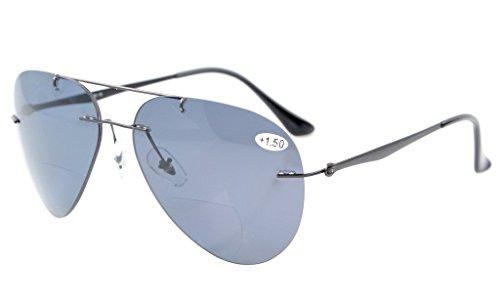 Eyekepper Sonne Leser Titanium Flieger Design randlose polarisierte Bifokale Sonnenbrillen +2.5