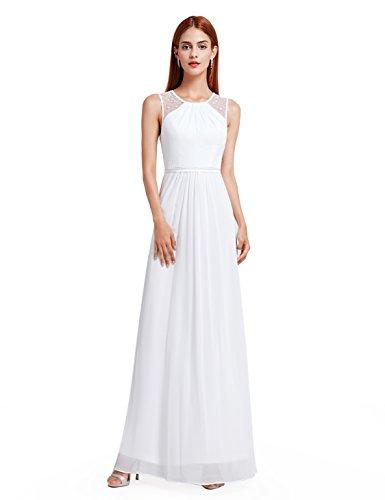 Ever Pretty Damen Elegant Ärmellos Perlen Lang Abendkleider Maxikleider Größe 38 Weiß
