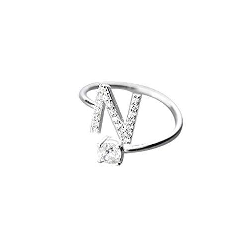 Floweworld Mode Einfache Ring Damen Ajustable Open Ring 26 Buchstaben Mit Diamant Ring Damen Schmuck Zubehör Geschenk -