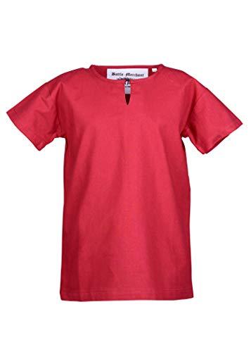 Kindes Römischen Kostüm Jungen - Battle-Merchant Mittelalter Tunika für Kinder rot weiß - Größe 110-164 Hemd Kleidung Kostüm (146, Rot)