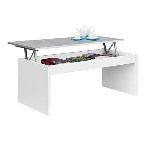 Habitdesign 0L1638A- Mesa de Centro elevable Modelo Zenit, mesita Mueble Salon Comedor Acabado en Blanco Artik - Cemento, Medidas: 102 cm (Ancho) x 43/52 cm de (Alto) x 50 cm (Fondo)
