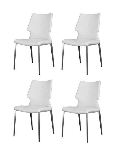 Meubletmoi Lot DE 4 - Chaises Simili Blanc piétement métal - Confort Ergonomique - Premium Collection & Design Contemporain - Milk