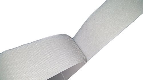 50mm Breite 5 Meter lang Selbstklebendes Kletthaken und Schlaufenstreifen Satz mit super klebrigen Rückseite Nylongewebe Reißverschluss weißes magisches Klebeband,weiß