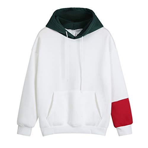 Moonuy Frauen weiß Hoodie Damen Langarm-Sweatshirt Katze Brief gedruckt mit Kapuze Patchwork Pullover Tops Taschen Bluse
