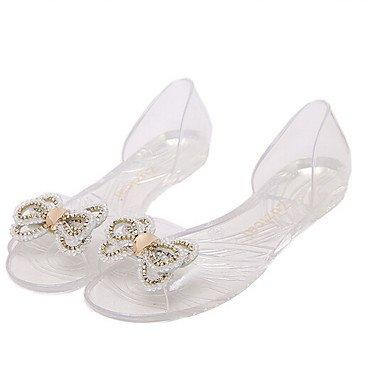 zhENfu Donna pantofole & flip-flops Comfort PU molla informale comfort arancione bianco nero Flat White