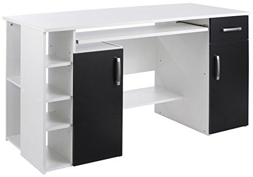 4129 - Computertisch / Schreibtisch / PC-Tisch in Weiß - Schwarz