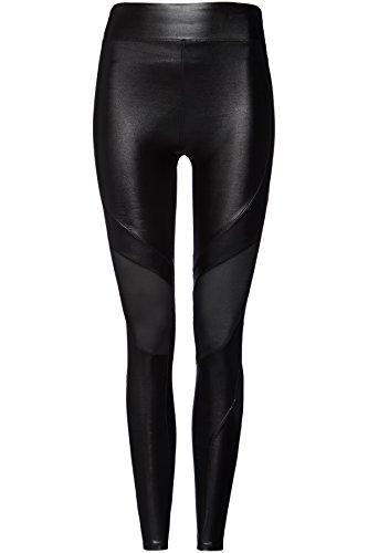 FIND Damen Sport-Leggings mit Geo-Print und Netzeinsätzen, Schwarz (Black), Medium