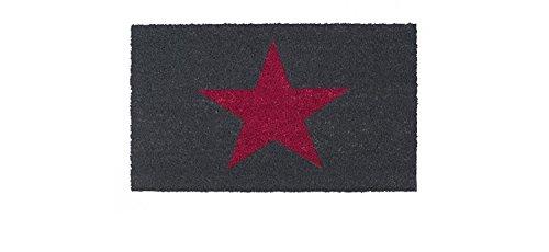Schmutzfangmatte / Fußmatte / Fussmatte / Fußabstreifer / Fußabtreter / Kokos / Kokosmatte / Schmutzmatte Modell - Stern - Stars - grau - weinrot - mit weinroten Stern - Größe : 75 x 45 cm