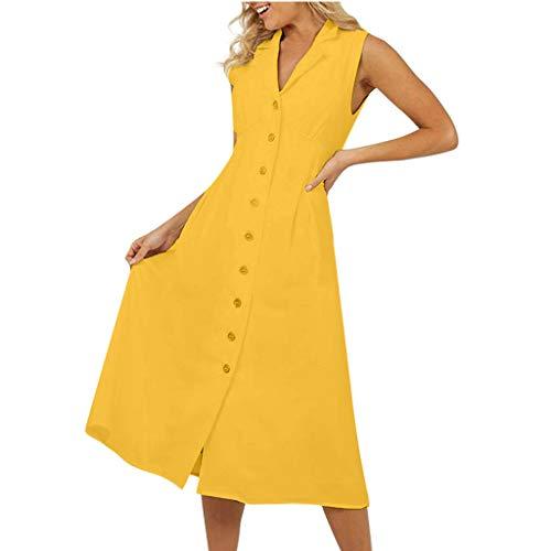 HULKY Frauen Damen Mode Sommer V-Ausschnitt ärmellos Eine Reihe Von Knöpfen Vintage Baumwolle und Leinen Kleid(gelb,L) (L.ein Halloween-kostüm Dodgers)