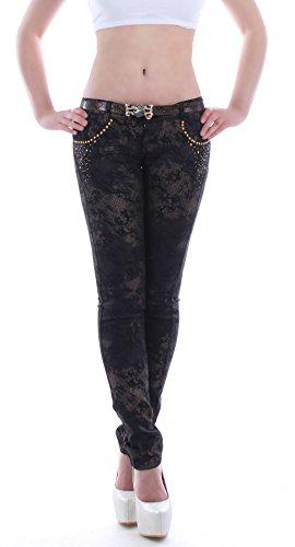 Style-Station24 Damen Jeanshosen Röhrenjeans Hüftjeans Jeans in schwarz mit Reptil Muster