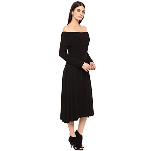Femella Fashion's Black Full sleeve Bardot Midi Dress (DS-1984959-1242-BLK-XL )