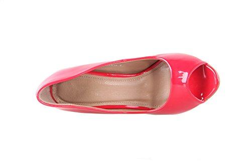 AalarDom Femme Matière Mélangee Stylet Ouverture Petite Sandales Rouge