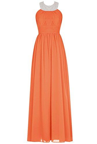 Bbonlinedress Rückenfrei Damen Modern Party Kleider Bodenlang Chiffon Abendkleider Orange