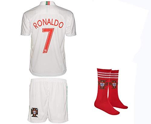 Portugal Ronaldo #7 2018 Auswärts Trikot und Shorts mit Socken und Wickel Armband Kinder und Jugend Größe