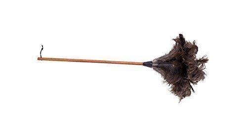 Straußenwedel, 90 cm, mit dunklem Griff und großem dunklen Federkopf Für die perfekte Hausfrau!
