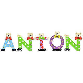 Playshoes Kinder Holz-Buchstaben Namen-Set Anton - Sortiert