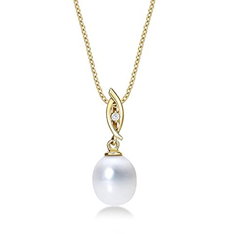 Drop Shaped Pearl Pendant Necklace with Single 8-8.5mm White Freshwater Pearl and White Cubic Zirconia Stone set in Luxurious 9K Yellow Gold