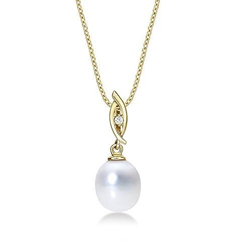 Tropfenform Perle Halskette mit Anhänger Single 8–8,5mm Süßwasserperle Weiß und Zirkonia weiß Stein in luxuriösen 9K Gelb Gold