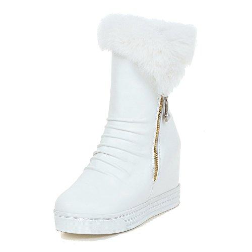 AllhqFashion Damen Niedrig-Spitze Rein Ziehen auf Hoher Absatz Stiefel, Weiß, 36