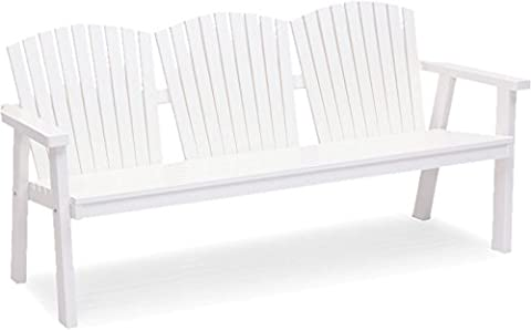 Solvik Modern Style Outdoor Garden Bench (Material: Pine, Color: White, UV-protected, Seating Capacity: 3, Assembly