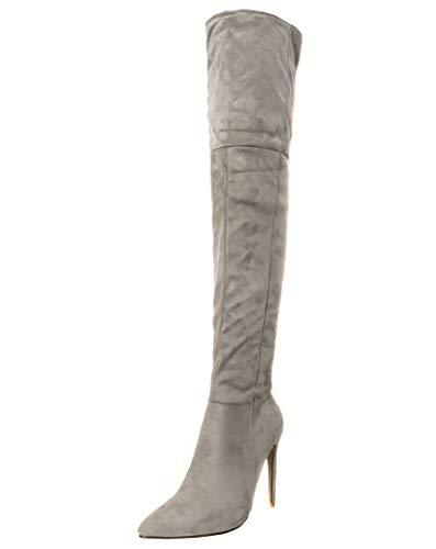 YE Damen Overknee High Heels Stiefel Stiletto Spitz Boots mit Reißverschluss Schuhe Ohne Verschluss...