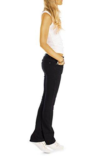 Bestyledberlin Damen Boot-Cut Jeans, Stretchige Schlaghose, Ausgestellte Basic Slim Fit Hüftjeans j09l Schwarz