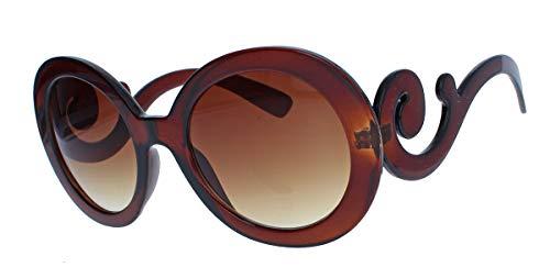 amashades Vintage Classics Große runde Damen Retro Sonnenbrille im Designer Look 60er 70er Jahre dicker breiter Rahmen Bügel geschwungen verschnörkelt PR93 (Cognac transparent)