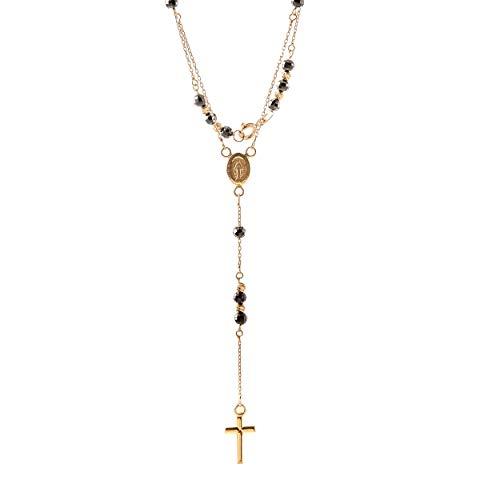 Lumarigold Goldene Damen Halskette 585 14k Gold Gelbgold Kette Rosenkranz Zirkonia Gravur