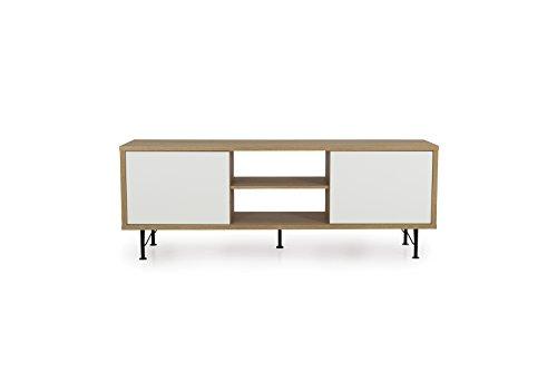 tenzo 2860-678 Flow Designer Banc TV 2 Portes, Blanc, Structure Particules mélaminé chêne. Façades : Panneaux MDF Mat. Pieds en Acier laqué Noir, 60 x 164 x 44 cm (HxLxP)