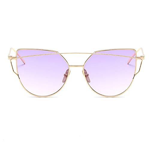 MJDABAOFA Sonnenbrillen, Cat Eye Marke Design Spiegel-Flachbild Vintage Cateye Fashion Sonnenbrille Lady Brillen Gold Frame Lila Objektiv