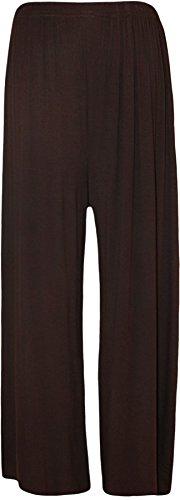 WearAll - Grande taille pantalon palazzo jambe large - Pantalons - Femmes - Tailles 44 à 54 Brun Foncé