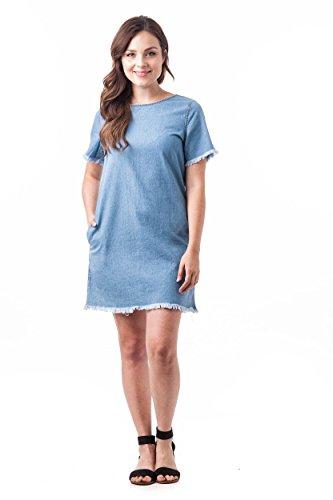 Khanomak Damen Kleid Hellblau