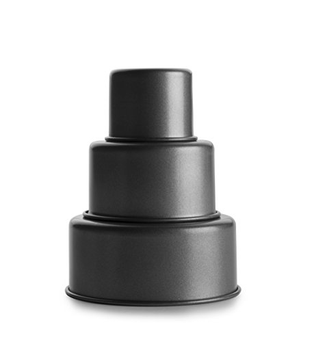 IBILI Backförmchen-Set für 3-stöckige Torte, Stahl, schwarz 12 x 12 x 5 cm, 3-Einheiten