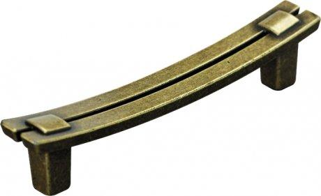 Poignée de porte ou tiroir de meuble en zamak patiné entraxe 96 mm, VOGUE