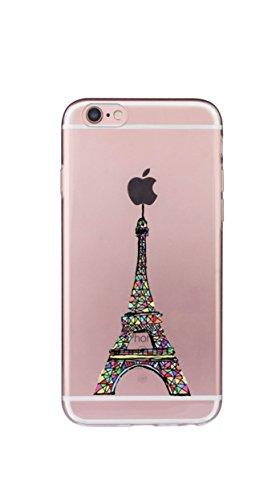 Custodia iPhone 8/7, Silicone Trasparente Morbida Clear Gel Cover, Ultra Slim Antiurto Anti-Graffio Bumper Case con Disegni-onda piramide