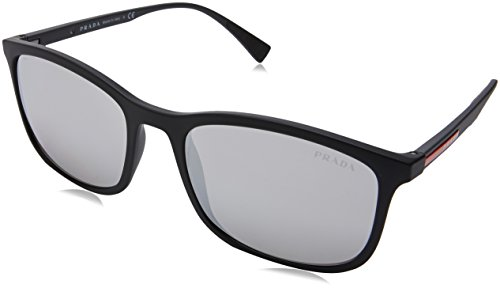 Prada Sport Herren 0PS01TS DG02B0 56 Sonnenbrille, Schwarz (Black Rubber/Light Grey Silver),
