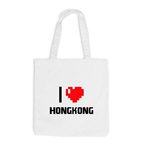 Jutebeutel - I Love Hongkong - China Reisen Herz Heart Pixel Weiß