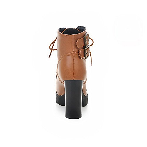VogueZone009 Donna Bassa Altezza Allacciare Tacco Alto Punta Tonda Stivali con Fibbia Marrone