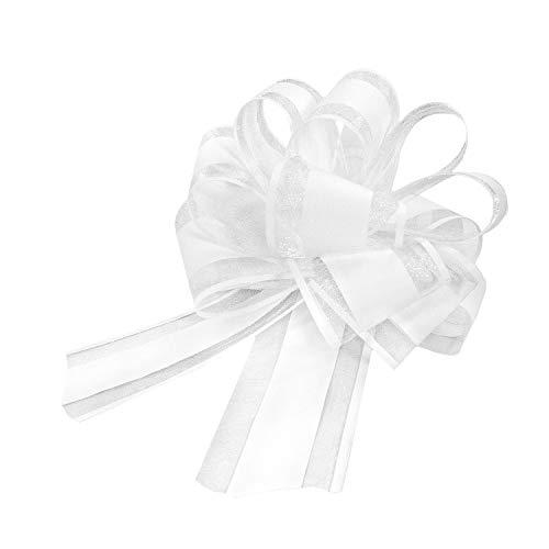 chenk Schleife mit Geschenkband Matt für Geschenke Tüten Zuckertüten zum Basteln Dekorieren Verzieren - Farbe wählbar (Weiß) ()